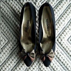 Vintage Capezio Bow Front Black Heels 80s